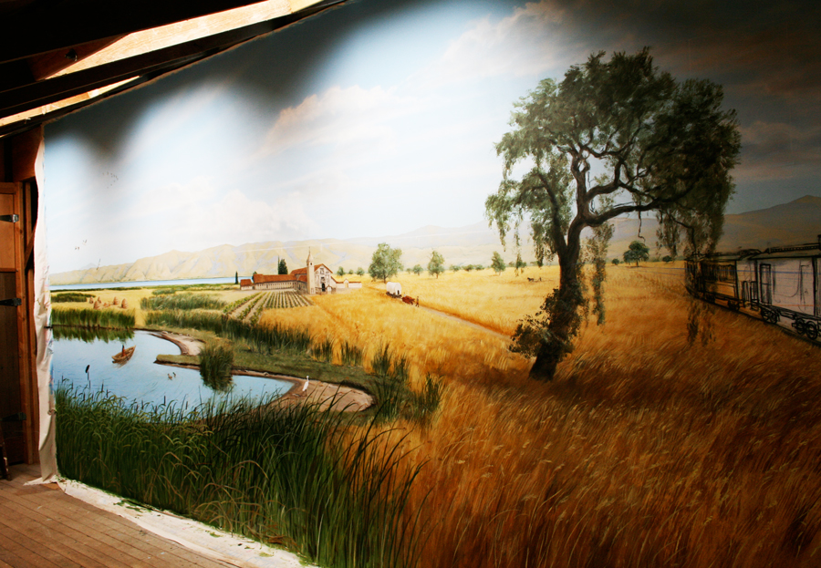 Wetlands and Train detail from the 10' x 68' mural - Prior to Installation