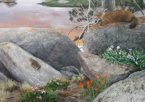 Detail from alpine mural.